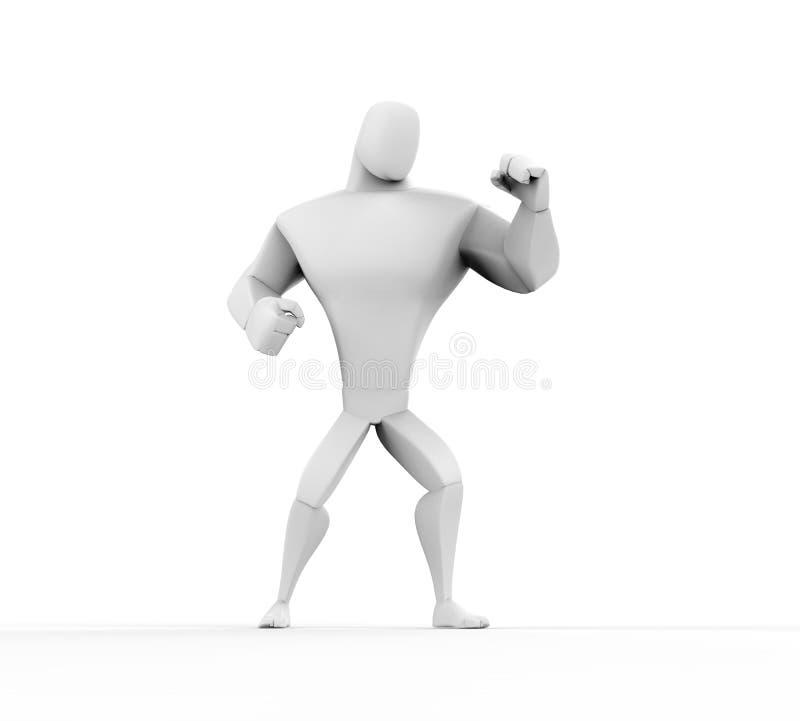 3D boxeador - soporte de la lucha stock de ilustración