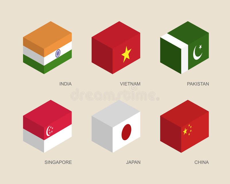 3d boxes with flags: India, Vietnam, China, Singapore, Pakistan, Japan. Set of isometric 3d boxes with flags of Asian countries. Simple containers with standards stock illustration