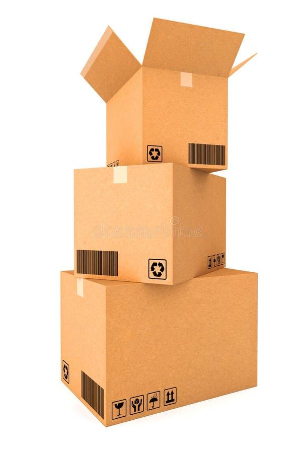 3d boxes papp frambragd bild arkivfoton