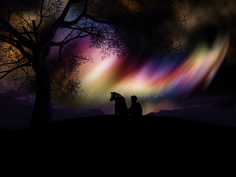 3D boy and his dog watching the northern lights vector illustration
