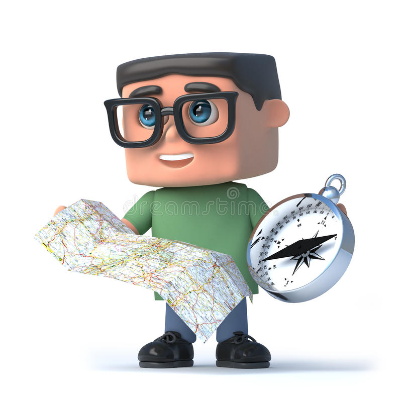 3d Boy wearing glasses using a compass and map. 3d render of a boy wearing glasses holding a compass and map stock illustration