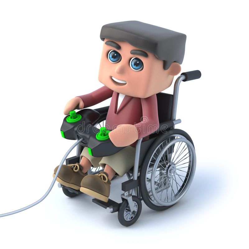 Download 3d Boy In Wheelchair Playing A Videogame Stock Illustration - Image: 42847992