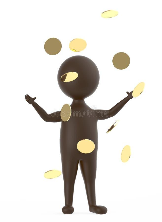 3d brünieren den Charakter, der beide Hände steht und anhebt, wenn goldene Münze, s fällt vektor abbildung