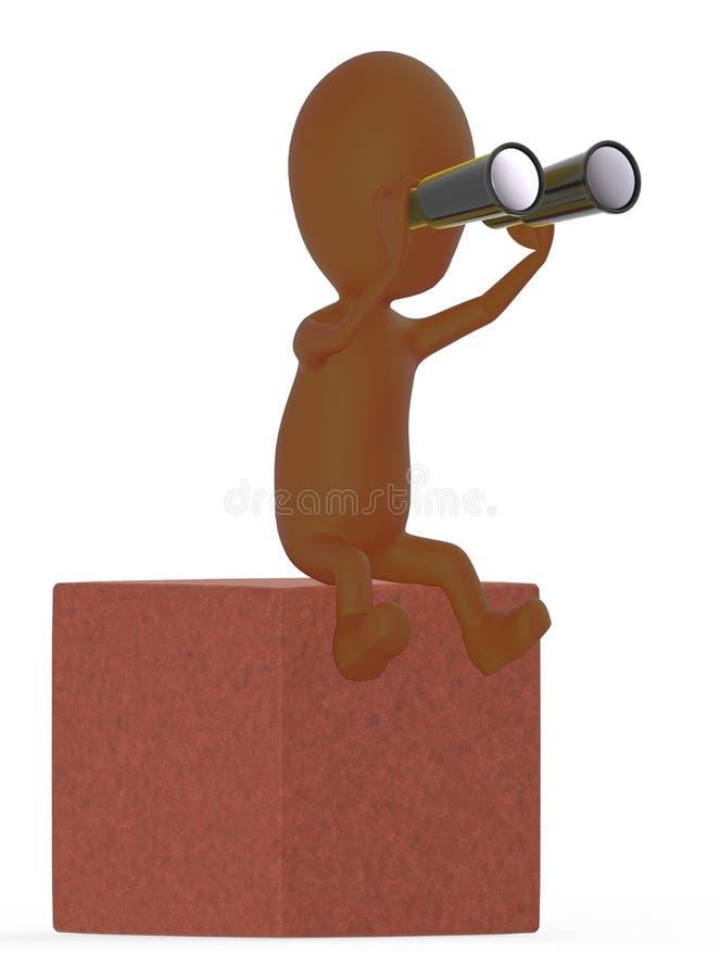 3d brünieren den Charakter, der durch binokulares beim Sitzen auf einen Block schaut vektor abbildung