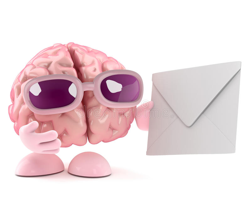3d Brain character gets mail. 3d render of a brain character holding an envelope vector illustration