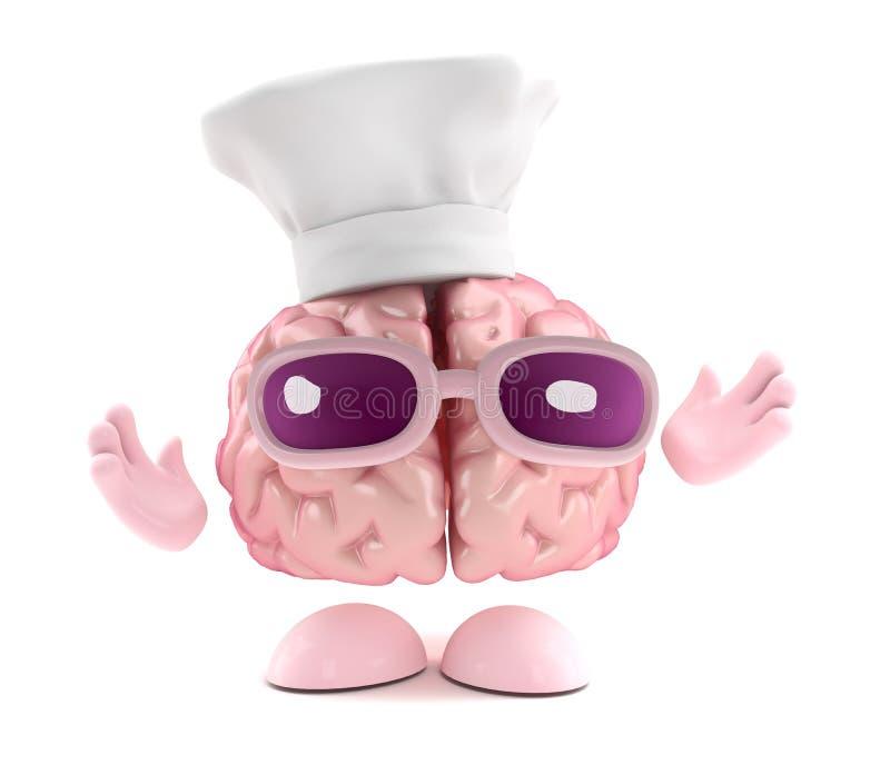 3d Brain chef royalty free illustration