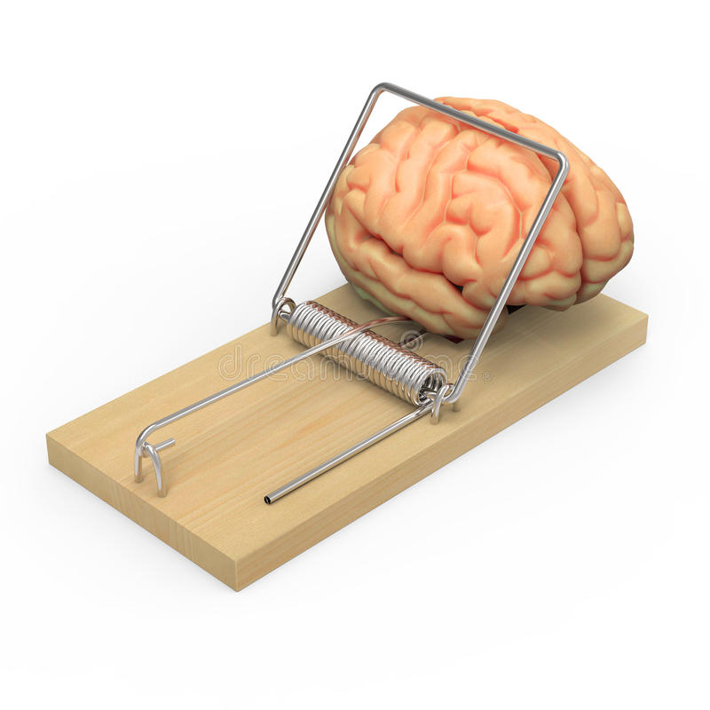 3d Brain in a mouse trap. 3d render of a brain in a mousetrap vector illustration