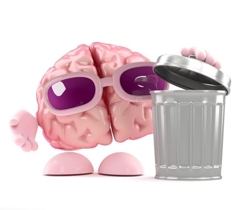 3d Brain rubbish vector illustration