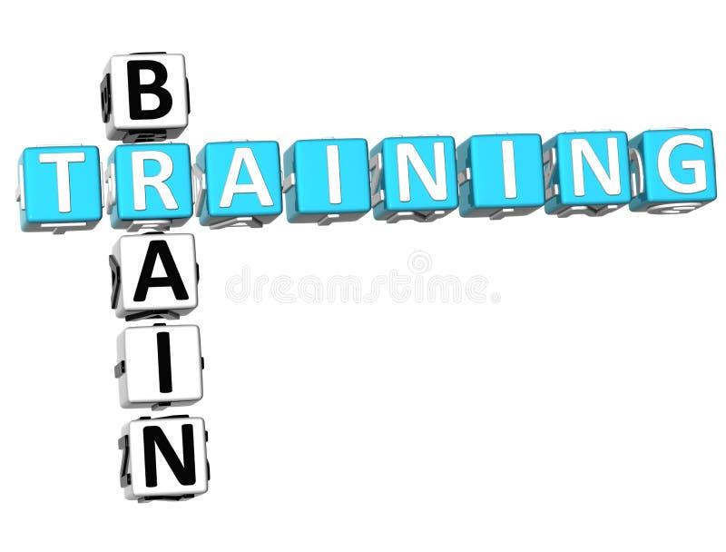 3D Brain Training Crossword illustration stock