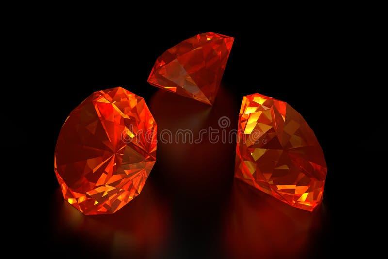 3D Branddiamanten royalty-vrije illustratie