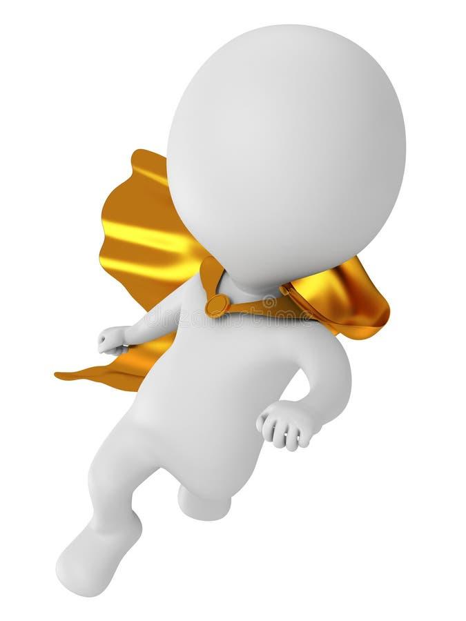 3d brave супергерой с летанием плаща золота выше бесплатная иллюстрация