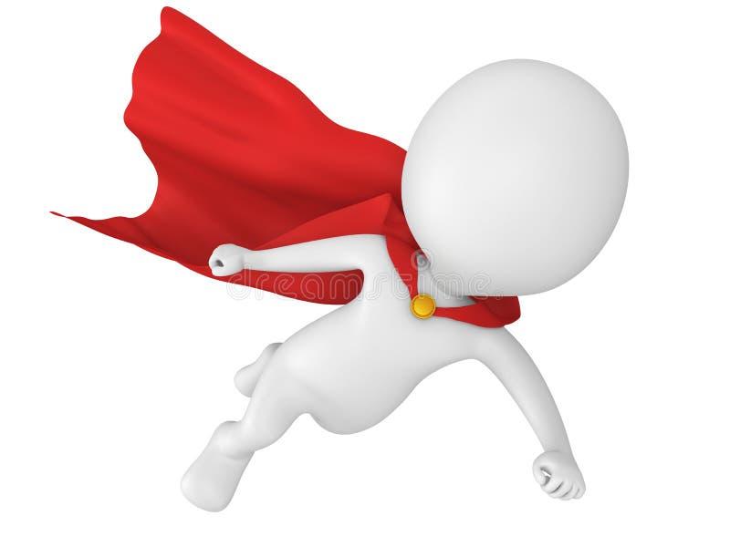 3d bravent le super héros avec le vol rouge de manteau illustration libre de droits