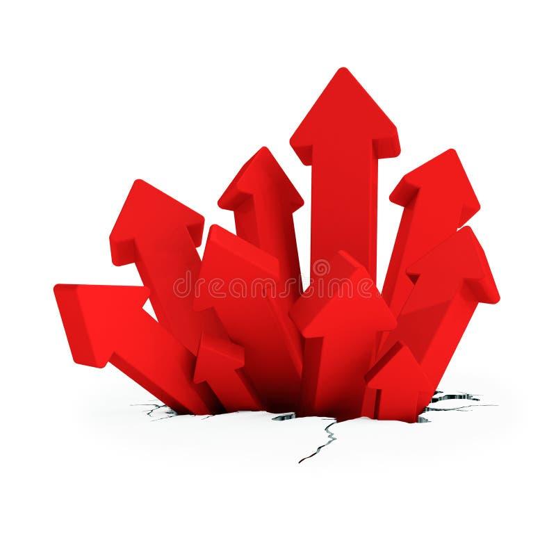 3d - breakthrough arrows - red vector illustration
