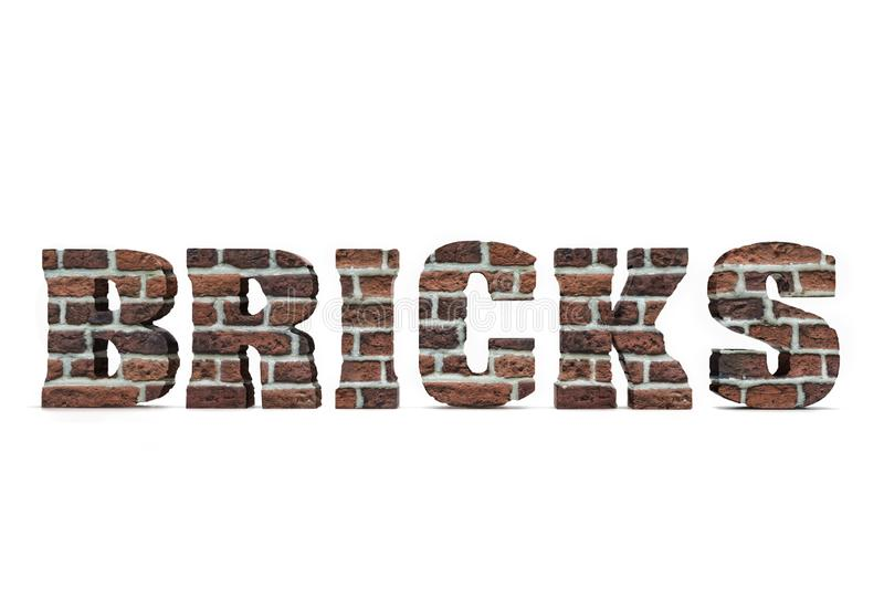 3D Bricks text. 3D render of Bricks text with red brick texture on white stock illustration