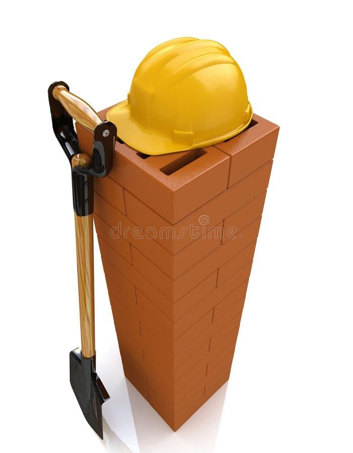 3D brickwork, żółty zbawczy hełm i łopata, Budowa conc ilustracja wektor
