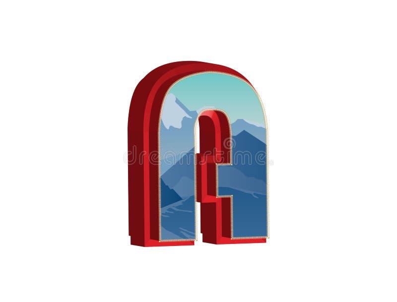 3D Brief A Vectorillustratie van 3D doopvont royalty-vrije illustratie