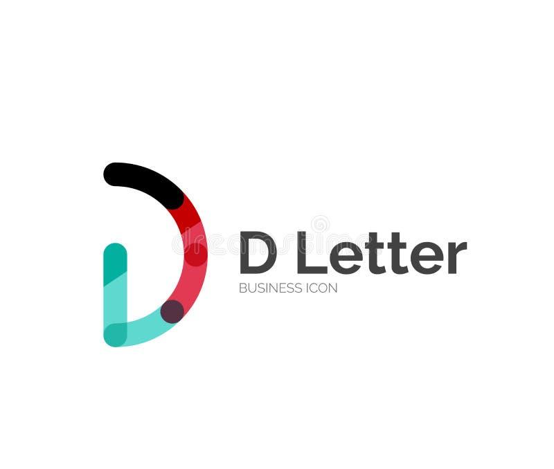 D brievenembleem, minimaal lijnontwerp royalty-vrije illustratie