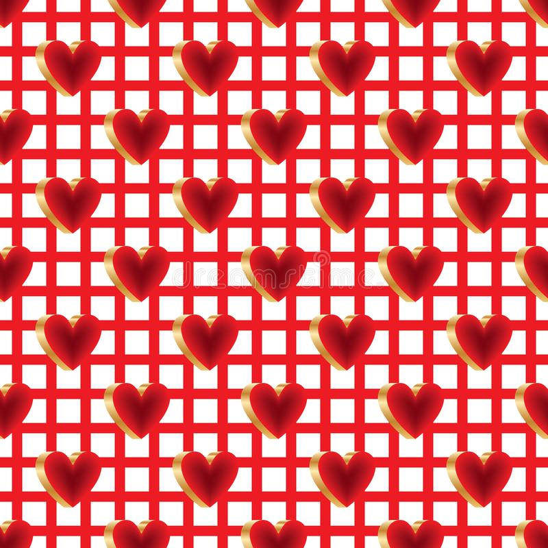 3d bright color red gold love fabric seamless pattern. This illustration is design 3d bright color red gold love abstract hang rack in fabric print seamless stock illustration