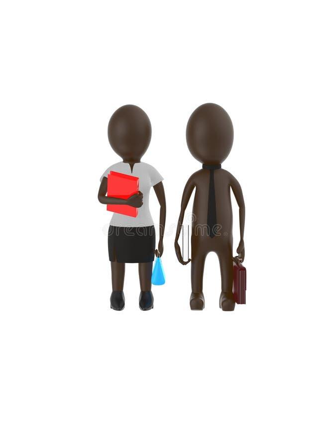 3d broncean al varón del carácter y la hembra que lleva el vestido formal y que sostiene brefcase, el libro y el bolso, archivan  ilustración del vector