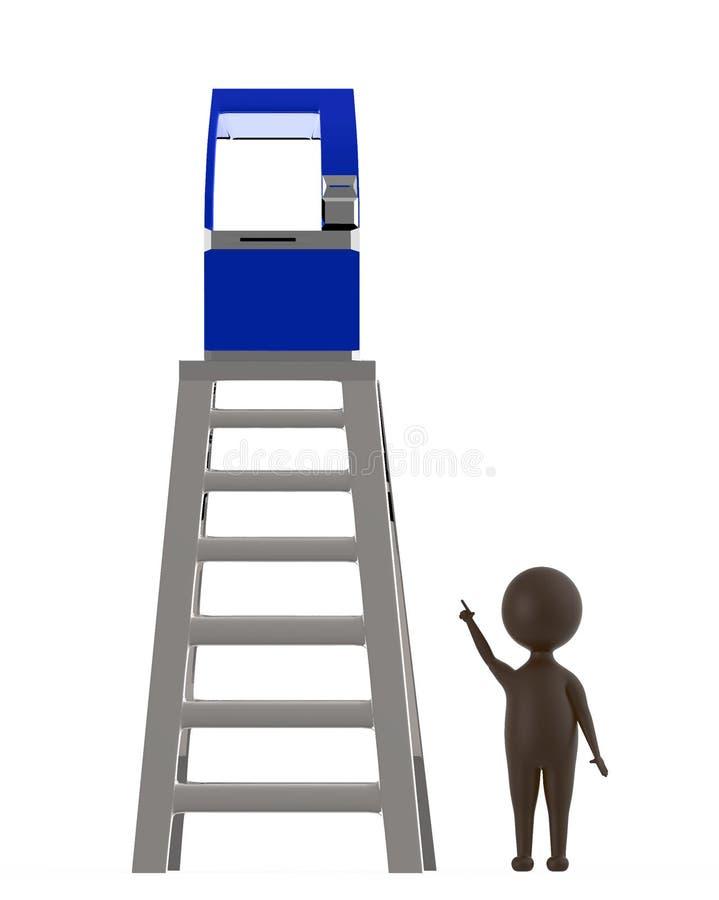 3d bronzeiam o caráter que aponta as mãos para cima para uma máquina do atm que esteja sobre uma parte superior do conceito da es ilustração do vetor