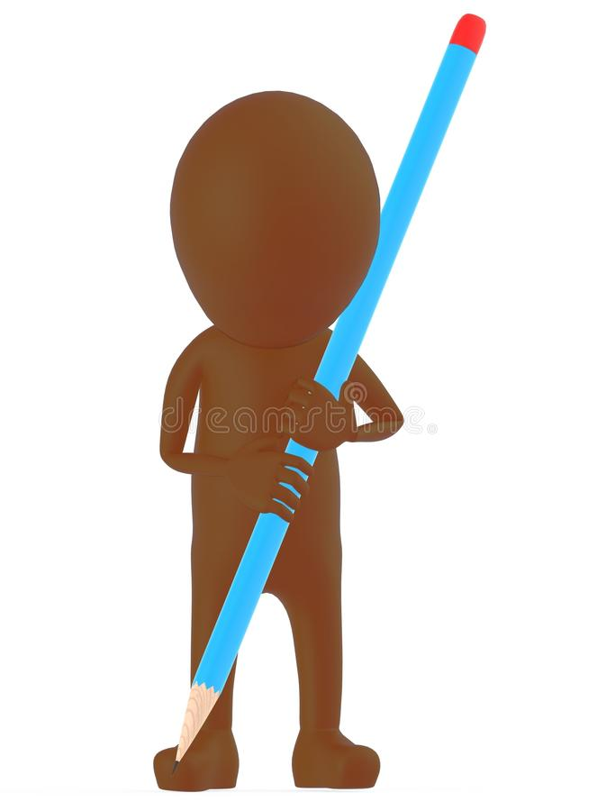 3d brown character holding a large pencil and writing / drawing vector illustration