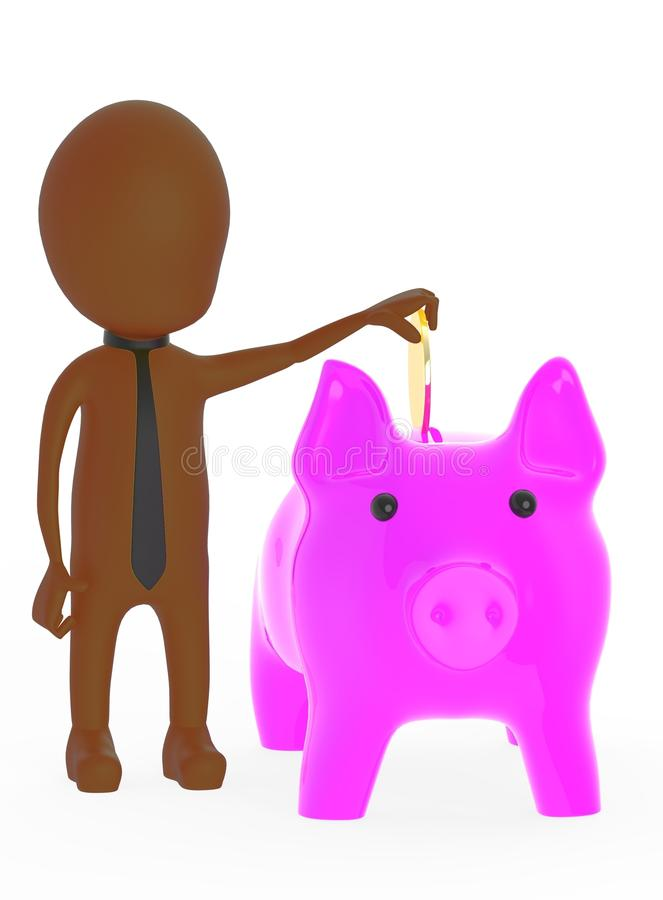3d brown character inserting golden coin to piggy bank stock illustration