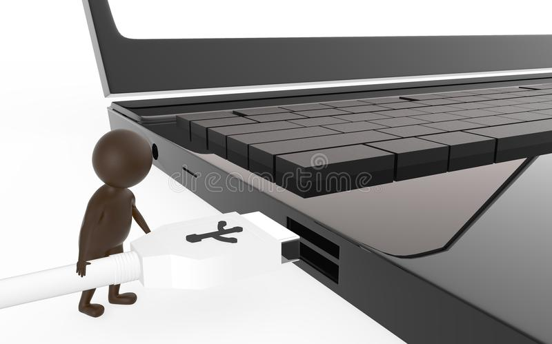 3d brown character is about to plug in a usb cable to a device usb port. Isolated in white background - 3d rendering stock illustration