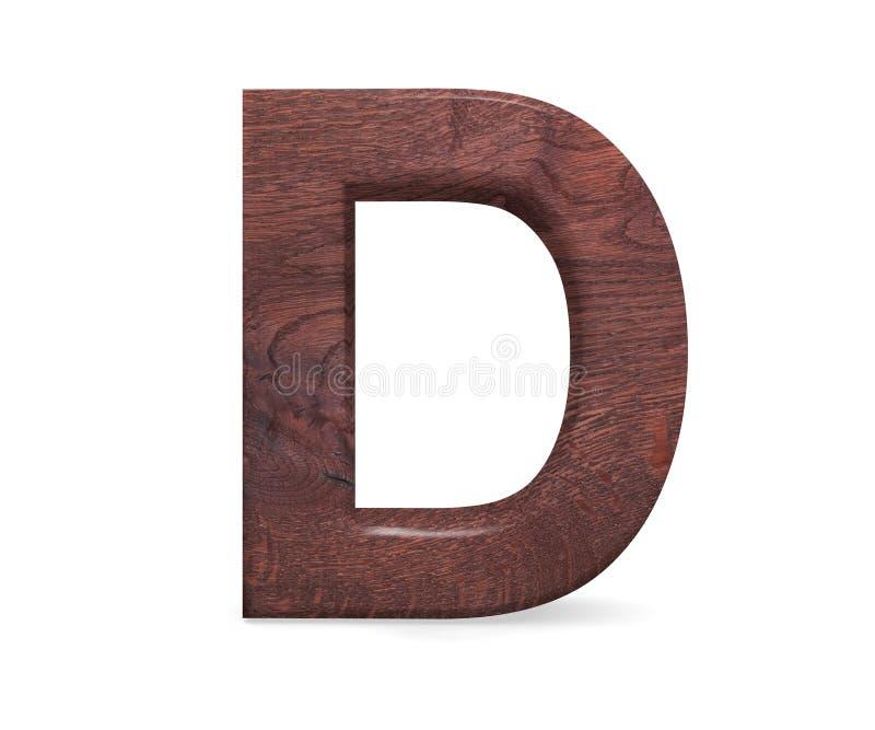 3D Brown décoratif a poli l'alphabet en bois, la majuscule D images stock