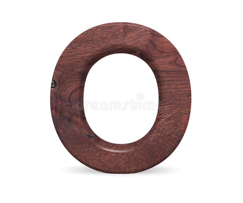 3D Brown décoratif a poli l'alphabet en bois, la majuscule O image libre de droits