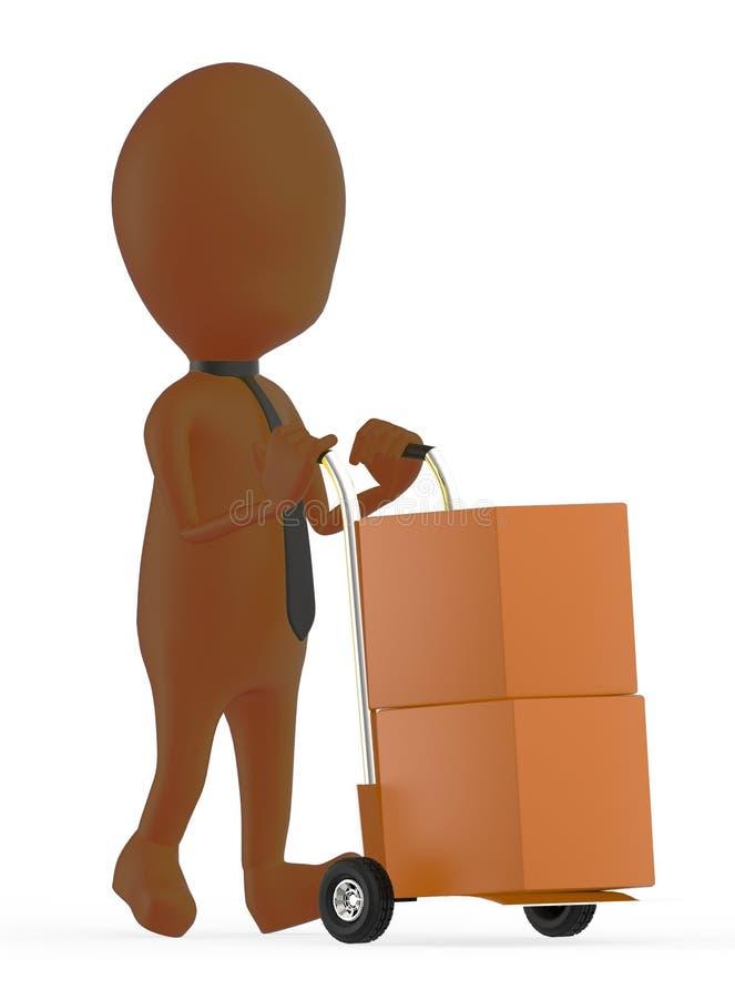 3d bruin karakter die een karretje met kartondozen bewegen daarin royalty-vrije illustratie