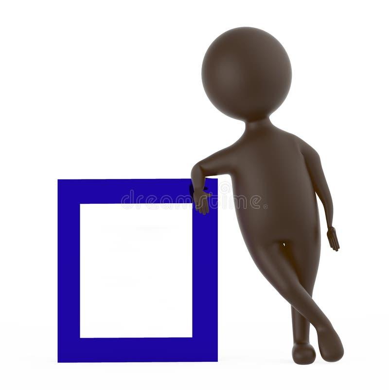 3d bruniscono il carattere che pende sopra un bordo della struttura illustrazione di stock