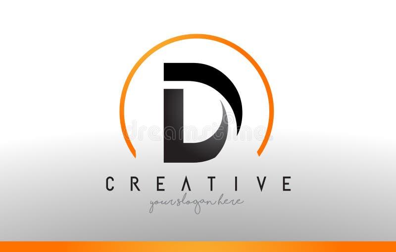 D-Buchstabe Logo Design mit schwarzer orange Farbe Kühle moderne Ikone T lizenzfreie abbildung