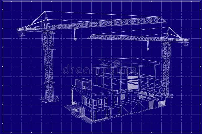 3D budynek na projekcie fotografia stock