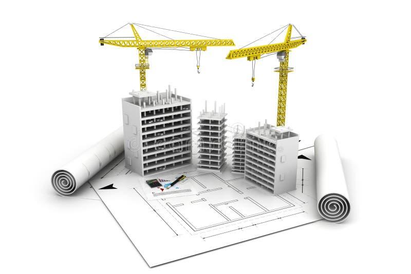 3d building block in construction vector illustration