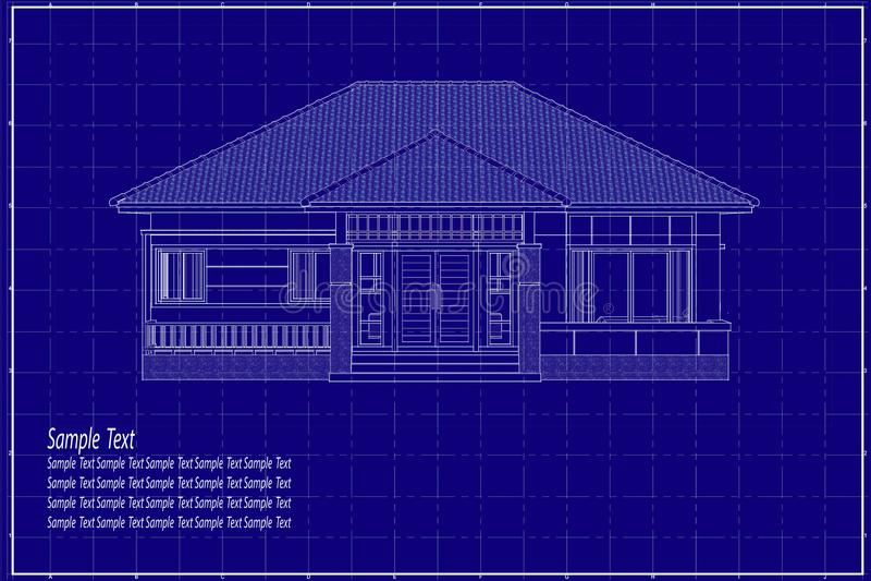 3D building on blueprint royalty free illustration