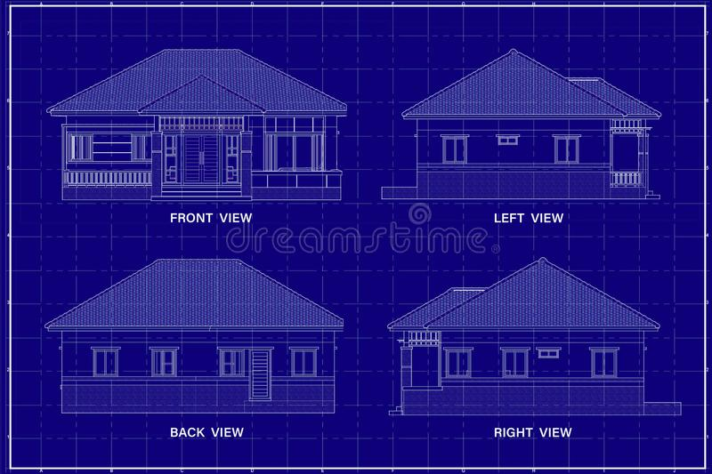 3D building on blueprint royalty free stock photo