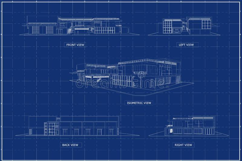 3D building on blueprint royalty free stock images