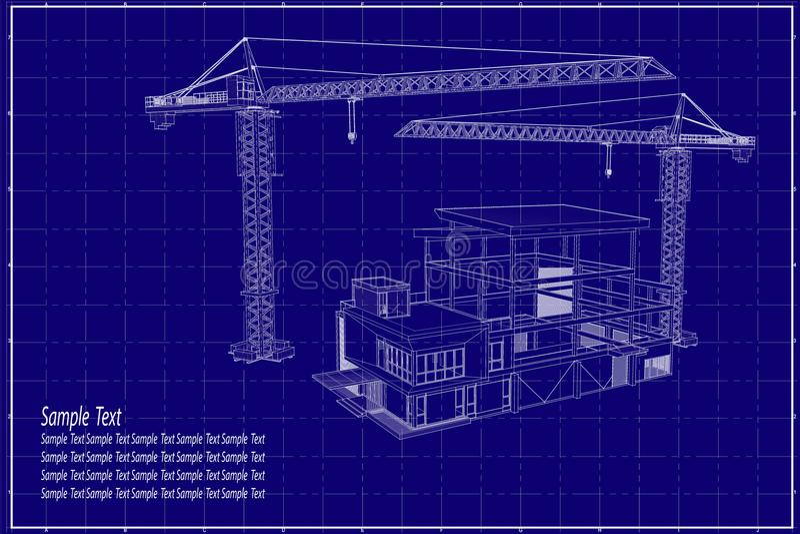 3D building on blueprint stock illustration