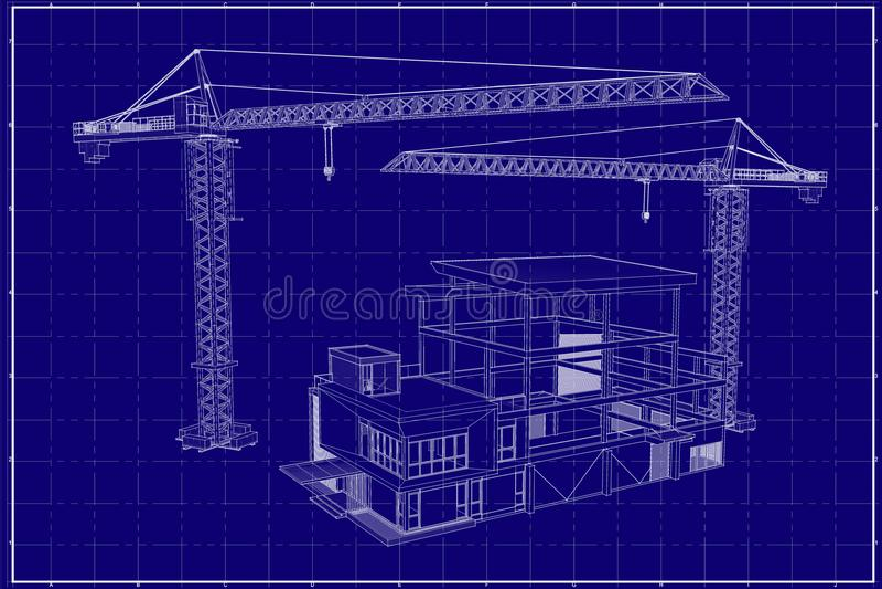 3D building on blueprint stock photography