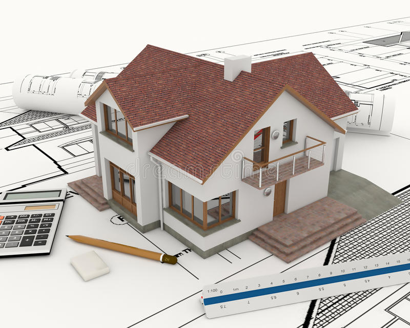 3d building with blueprint plans stock illustration for Build a house calculator free