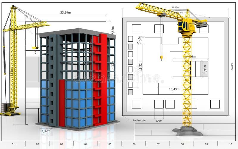3d of building construction stock illustration