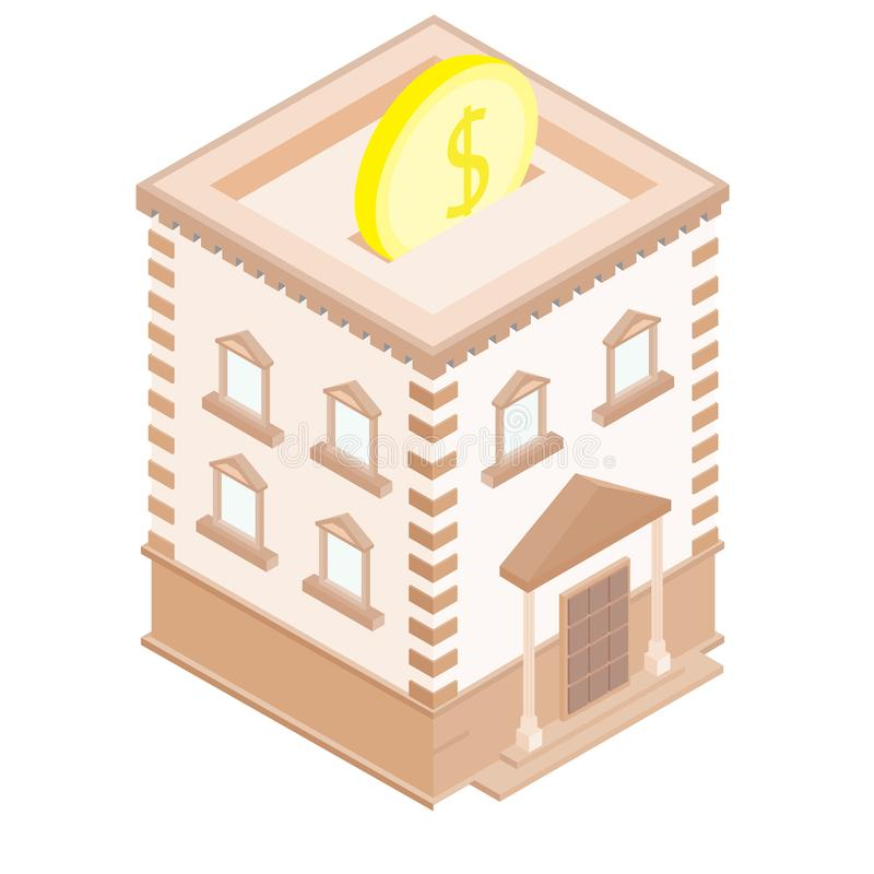 3D building model. Isometric projection. Isolated bank on a white background. royalty free stock images