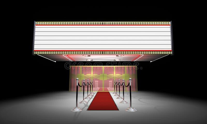 3d: Buitensporige Theateringang met Markttent stock illustratie