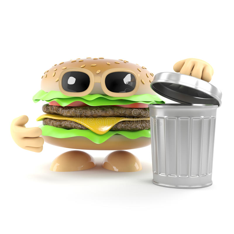 3d Burger with a waste bin. 3d render of a beefburger next to a dustbin royalty free illustration