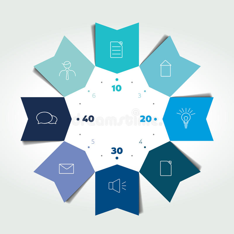 3D business circle color arrows infographic. Chart can be used for presentation, number options, workflow layout, timeline, diagra vector illustration