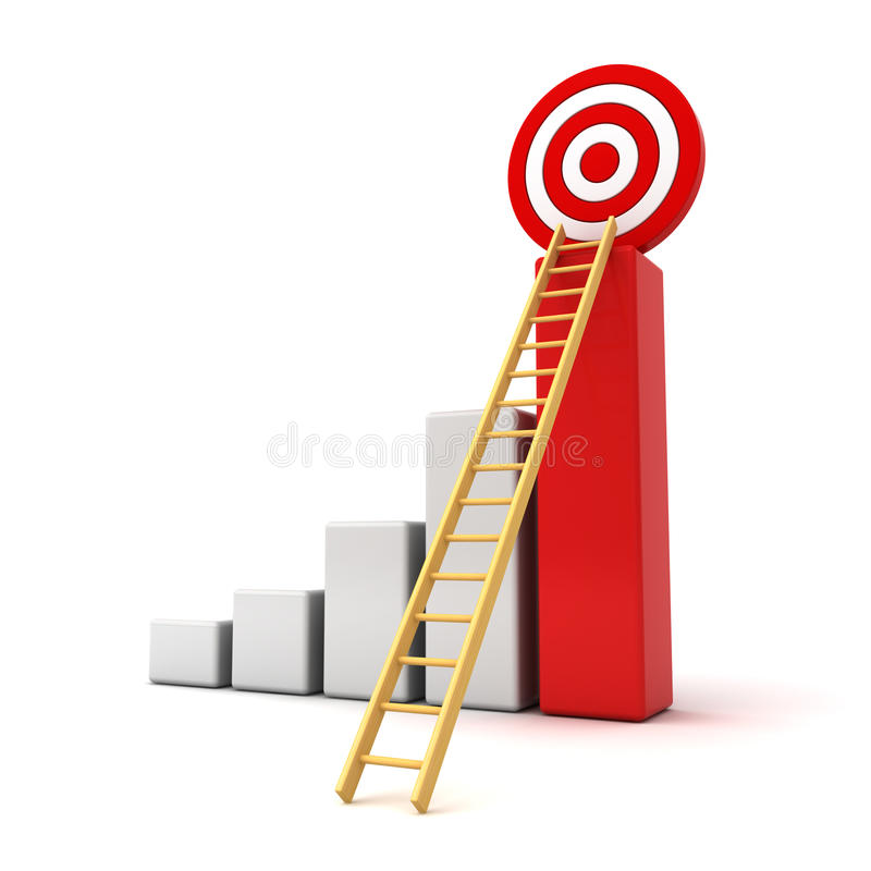 3d business graph with wood ladder to the red target stock illustration