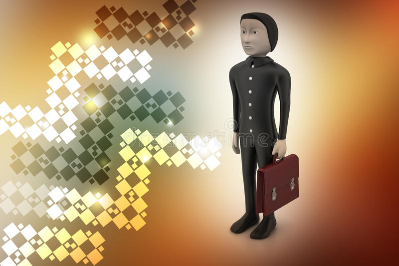 3d business man with briefcase. In color background royalty free illustration