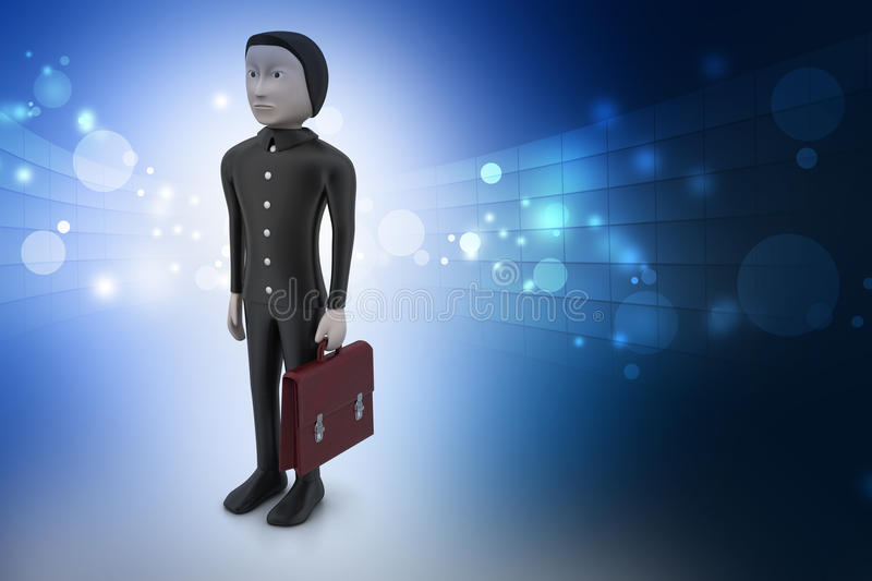 3d business man with briefcase stock illustration