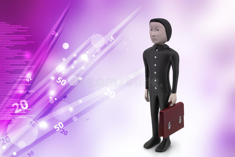 3d business man with briefcase vector illustration