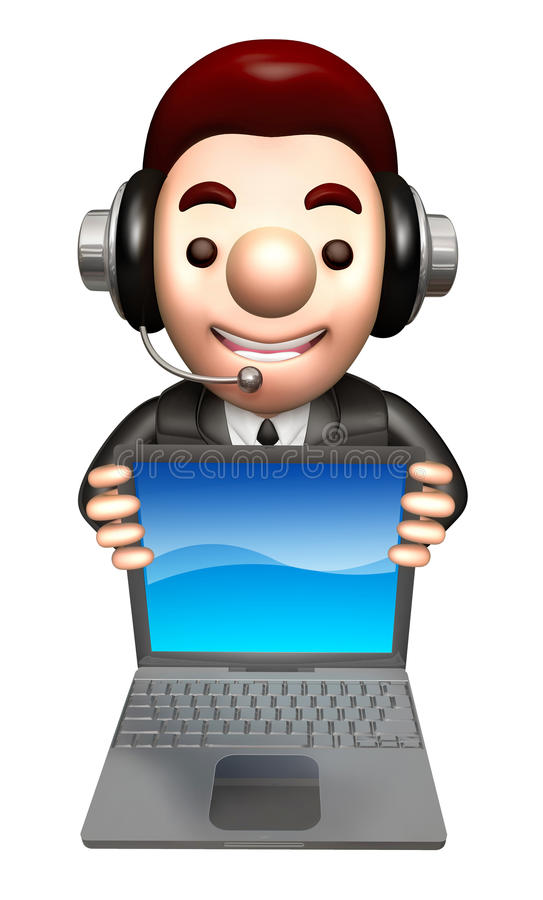 Download 3D Business Man Mascot To Promote Laptop Stock Illustration - Image: 34697899
